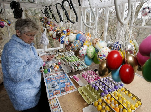 German pensioner Christa Kraft compiles Easter eggs before she decorates an apple tree with them, in the garden of her summerhouse in the eastern German town of Saalfeld, March 19, 2014. (Photo by Fabrizio Bensch/Reuters)
