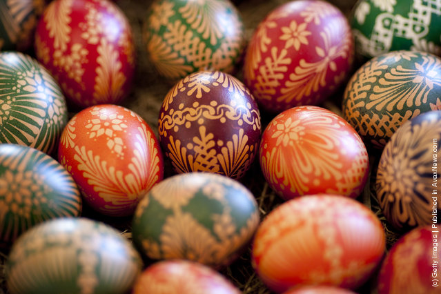 Painted an Easter egg in traditional Sorbian motives at the annual Easter egg market