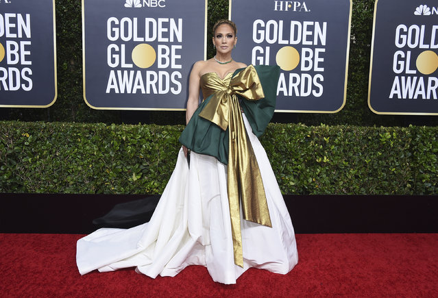 Jennifer Lopez arrives at the 77th annual Golden Globe Awards at the Beverly Hilton Hotel on Sunday, January 5, 2020, in Beverly Hills, Calif. (Photo by Jordan Strauss/Invision/AP Photo)