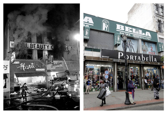 In a July 14, 1967 file photo, left, firefighters battle a blaze on Broad Street near Branford Place in Newark, N.J., where four days of deadly violence and looting came to be known as the Newark riots. In a June 16, 2017 photo, right, people stand outside retail stores at the same place 50 years later. (Photo by AP Photo/File, left; Julio Cortez, right)