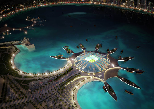 In this handout image supplied by Qatar 2022  The Doha Port stadium is pictured in this artists impression as Qatar 2022 World Cup bid unveils it's stadiums on September 16, 2010 in Doha, Qatar. The architecture of the stadium references its location by creating a shape reminiscent of a marine animal. (Photo by Qatar 2022 via Getty Images)