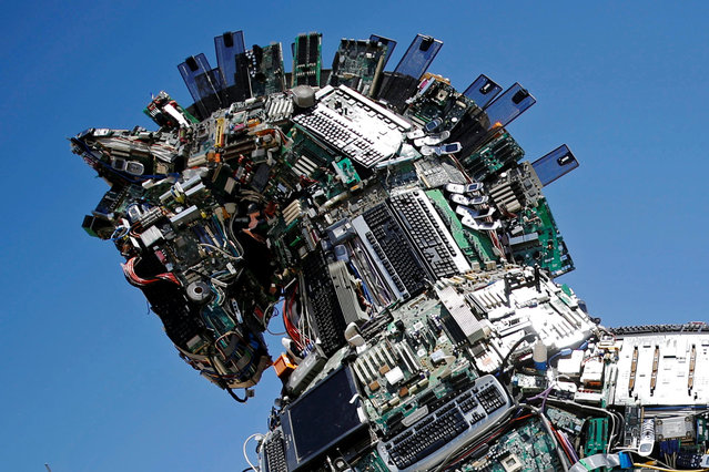 "A close-up of the head of a ""Cyber Horse"", made from thousands of infected computer and cell phone bits, is seen on display at the entrance to the annual Cyberweek conference at Tel Aviv University, Israel June 20, 2016. (Photo by Amir Cohen/Reuters)"