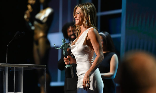 """Jennifer Aniston accepts the Outstanding Performance by a Female Actor in a Drama Series award for """"The Morning Show"""" onstage during the 26th Annual Screen Actors Guild Awards at The Shrine Auditorium on January 19, 2020 in Los Angeles, California. (Photo by Mike Coppola/Getty Images for Turner)"""
