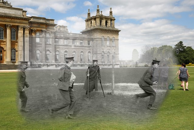 A picture from 1916 shows soldiers playing football outside Blenheim Palace, superimposed with an image of visitors looking around the palace in 2014. (Photo by Peter Macdiarmid/Getty Images)