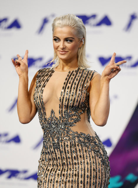 Bebe Rexha poses in the press room at the MTV Video Music Awards at The Forum on Sunday, August 27, 2017, in Inglewood, Calif. (Photo by Danny Moloshok/Reuters)