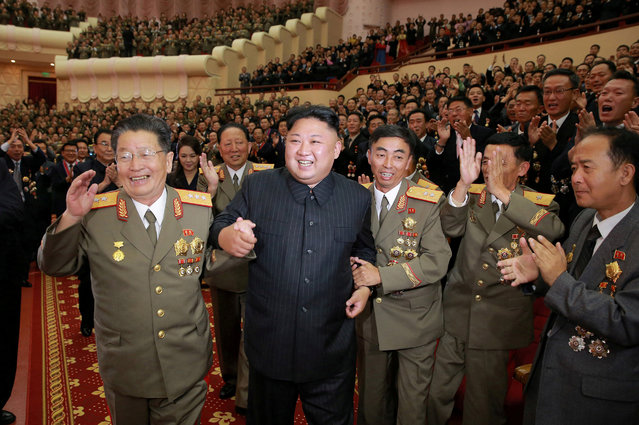 North Korean leader Kim Jong Un reacts during a celebration for nuclear scientists and engineers who contributed to a hydrogen bomb test, in this undated photo released by North Korea's Korean Central News Agency (KCNA) in Pyongyang on September 10, 2017. (Photo by Reuters/KCNA)