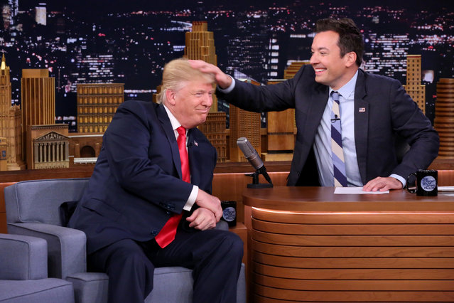"In this image released by NBC, Republican presidential candidate Donald Trump appears with host Jimmy Fallon during a taping of ""The Tonight Show Starring Jimmy Fallon"", Thursday, September 15, 2016, in New York. (Andrew Lipovsky/NBC via AP Photo)"