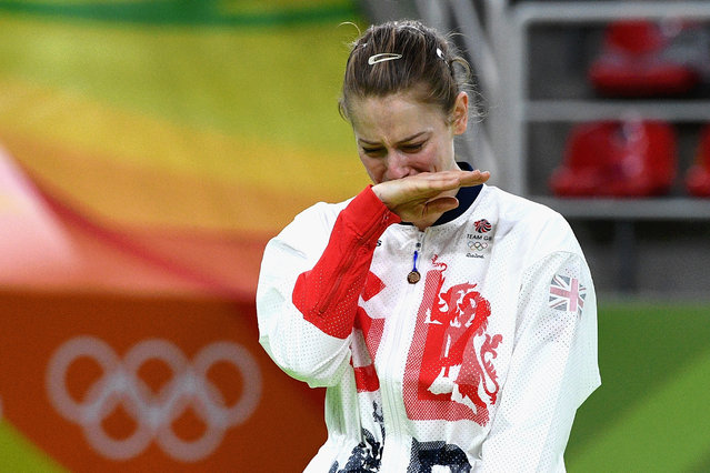 Silver medalist Bryony Page of Great Britain reacts after competing in the Trampoline Gymnastics Women's Final on Day 7 of the Rio 2016 Olympic Games at the Rio Olympic Arena on August 12, 2016 in Rio de Janeiro, Brazil. (Photo by David Ramos/Getty Images)