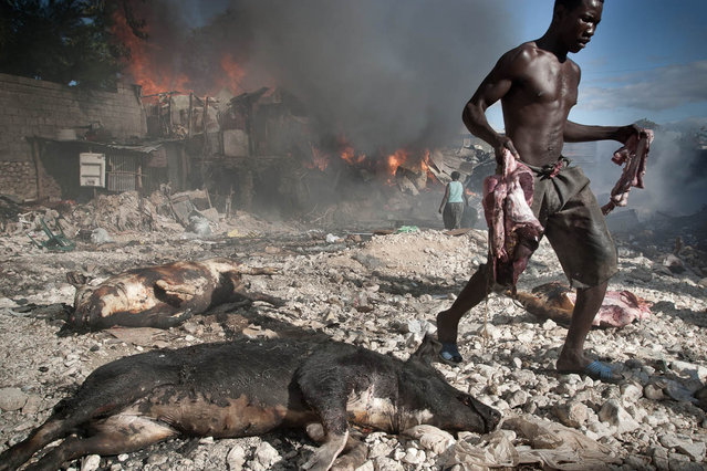 Haiti, Petion-Ville. Fire at a pig seller's in Parc Charbon slums in November 2003. (Photo by Jean-Claude Coutausse)