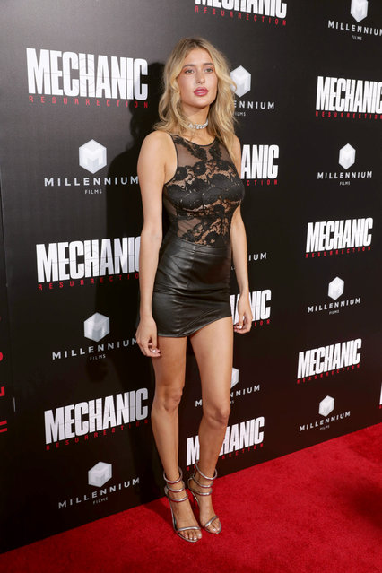 """Gemma Vence seen at Los Angeles Premiere of """"Mechanic: Resurrection"""" from Lionsgate's Summit Premiere Label at ArcLight Hollywood on Monday, Aug. 22, 2016, in Los Angeles. (Photo by Eric Charbonneau/Invision for Lionsgate/AP Images)"""