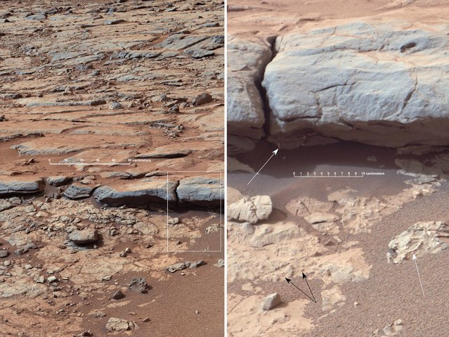 "The right Mast Camera (Mastcam) of NASA's Curiosity Mars rover provided this view of the lower stratigraphy at ""Yellowknife Bay"" inside Gale Crater on Mars. The rectangle superimposed on the left image shows the location of the enlarged portion on the right. In the right image, white arrows point to veins (including some under the overhang), and black arrows point to concretions (small spherical concentrations of minerals). Both veins and concretions strongly suggest precipitation of minerals from water. The scale bar in the left image is 50 centimeters (19.7 inches) long. The scale bar in the right image is 10 centimeters (3.9 inches) long. Mastcam recorded this view in the morning of the 137th Martian day, or sol, of Curiosity's surface operations (December 24, 2012). The image has been white-balanced to show what the rocks would look like if they were on Earth. (Photo by NASA)"