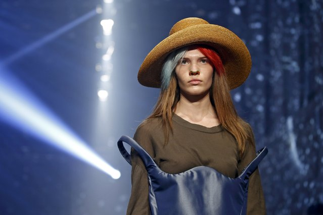 A model presents a creation by British designer Vivienne Westwood as part of her Spring/Summer 2016 women's ready-to-wear fashion collection in Paris, France, October 3, 2015. (Photo by Benoit Tessier/Reuters)