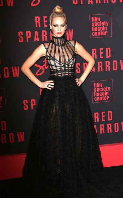 """Actress Jennifer Lawrence attends the """"Red Sparrow"""" premiere at Alice Tully Hall at Lincoln Center on February 26, 2018 in New York City. (Photo by Gregory Pace/Rex Features/Shutterstock)"""