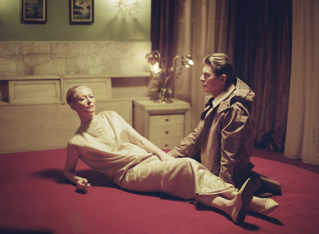 David Bowie and Tilda Swinton. A photo taken by Director Floria Sigismondi on set of The Stars (Are Out Tonight), featuring Tilda Swinton