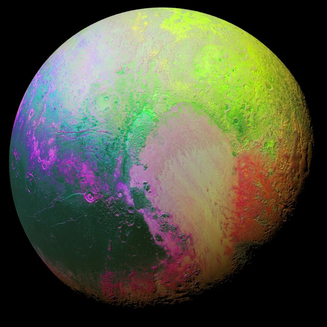 New Horizons scientists made this false color image of Pluto using a technique called principal component analysis to highlight the many subtle color differences between Pluto's distinct regions. The image data were collected by the spacecraft's Ralph/MVIC color camera on July 14 at 11:11 AM UTC, from a range of 22,000 miles (35,000 kilometers). (Photo by NASA/JHUAPL/SwRI)