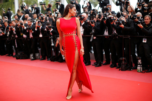 Irina Shayk arrives for the screening of the film Sorry Angel (Plaire, aimer et courir vite) May 10, 2018 during the 71st annual Cannes Film Festival in Cannes, France. (Photo by Stephane Mahe/Reuters)