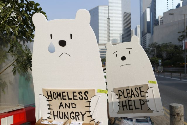 Protesters carry styrofoam cut-outs depicting polar bears during a march ahead of the 2015 Paris Climate Change Conference, known as the COP21 summit, in Hong Kong November 29, 2015. (Photo by Tyrone Siu/Reuters)