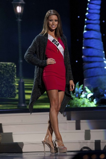 Miss USA 2014 Nia Sanchez rehearses on stage for the 63rd annual Miss Universe Pageant in Miami, Florida in this January 24, 2015 handout photo courtesy of the Miss Universe Organization. (Photo by Reuters/Miss Universe Organization)