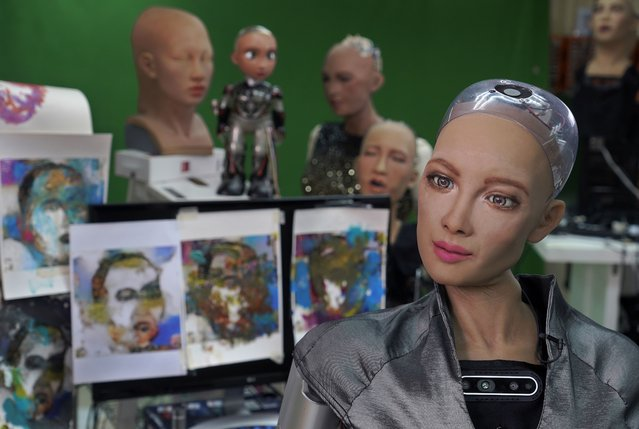 Sophia answers questions at Hanson Robotics studio in Hong Kong on March 29, 2021. (Photo by Vincent Yu/AP Photo)