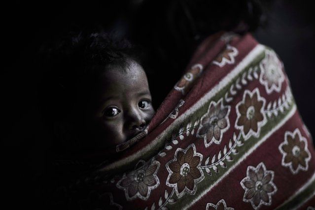 A young Raute baby peeks out of her shroud in Accham District, Nepal, January 2016. (Photo by Jan Moller Hansen/Barcroft Images)