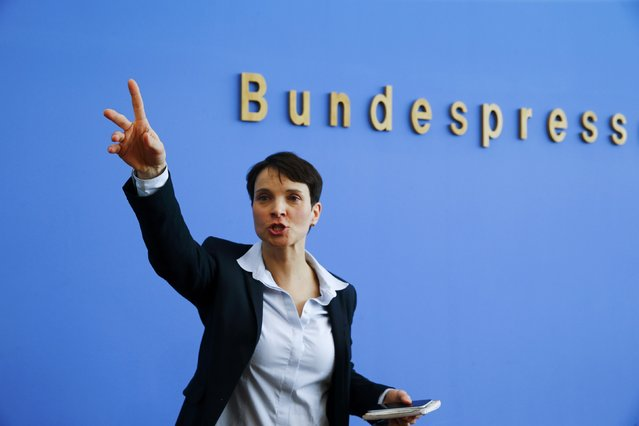 Frauke Petry, chairwoman of the anti-immigration party Alternative for Germany (AfD) speaks during a news conference in Berlin, Germany, March 14, 2016. (Photo by Wolfgang Rattay/Reuters)