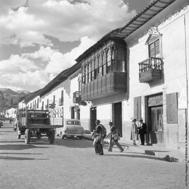 A street in Cuzco, Peru with beautifully carved wooden balconies, 1955