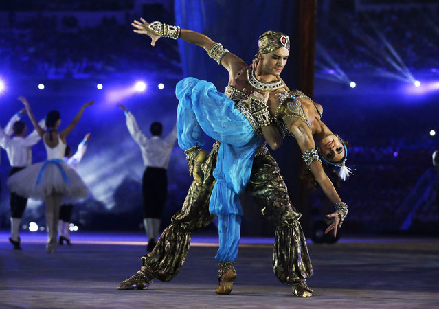 Performers dance during the closing ceremony of the 2014 Winter Olympics, Sunday, February 23, 2014, in Sochi, Russia. (Photo by Darron Cummings/AP Photo)