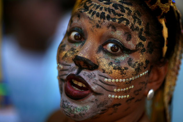 A reveller takes part in the annual block party Cordao de Boitata during pre-carnival festivities in Rio Janeiro, Brazil February 19, 2017. (Photo by Pilar Olivares/Reuters)