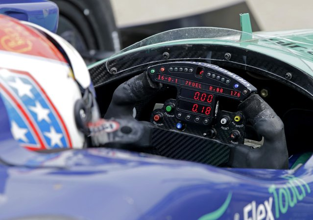 In this May 14, 2015, photo, the steering wheel of Charlie Kimball is seen during practice for the Indianapolis 500 auto race at Indianapolis Motor Speedway in Indianapolis, Thursday, May 14, 2015. Kimball checks the special monitor on his steering wheel during a race to monitor his blood-glucose level. (Photo by Darron Cummings/AP Photo)
