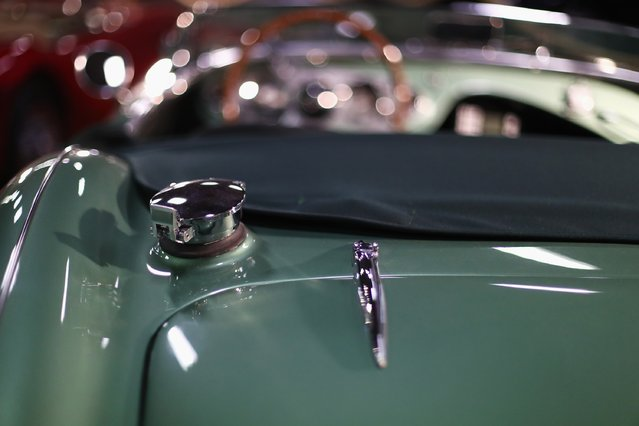 A detailed view of the rear fuel cap on a Austin Healey 100M during the The 40th Antwerp Classic Salon run by SIHA Salons Automobiles and held at Antwerp EXPO Halls on March 3, 2017 in Antwerpen, Belgium. (Photo by Dean Mouhtaropoulos/Getty Images)
