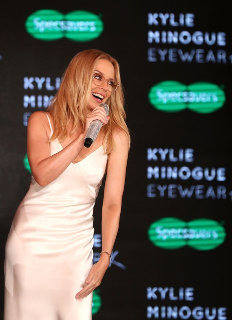 Kylie Minogue speaks on stage at the launch of her eyewear collection for Specsavers at the Establishment Ballroom on March 7, 2017 in Sydney, Australia. (Photo by Ryan Pierse/Getty Images)