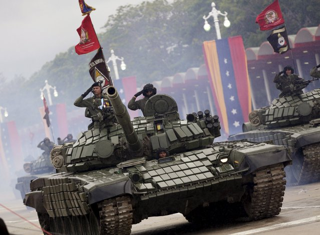 Tanks are displayed during a military parade to celebrate the anniversary of Venezuela's independence in Caracas, July 5, 2015. (Photo by Jorge Dan Lopez/Reuters)