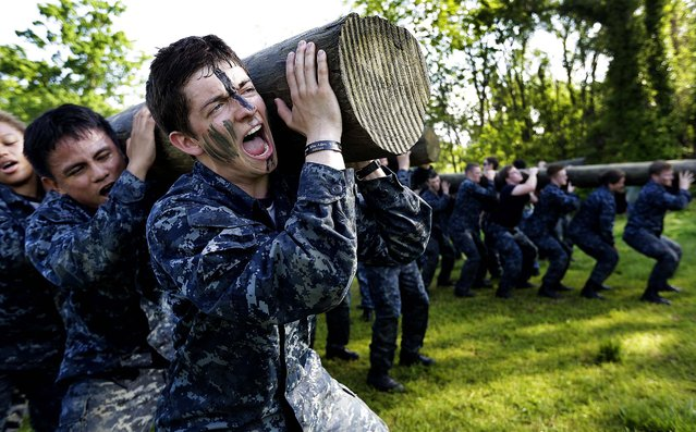 Phillip Metcalfe of Plano, Texas, screams as he lifts a log during Sea Trials, a day of physical and mental challenges for freshman midshipmen. (Photo by Patrick Semansky/Associated Press)