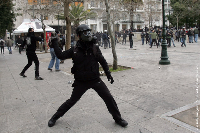 Protestors during a demonstration involving thousands of civilians on February 10, 2012 in Athens, Greece