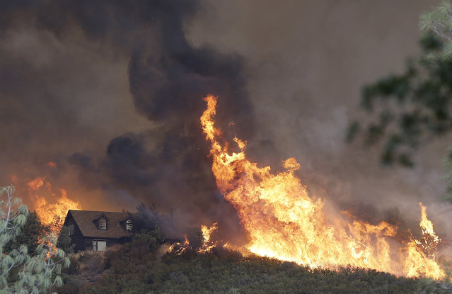 Fires approach a home near Lower Lake, Calif., Friday, July 31, 2015. A series of wildfires were intensified by dry vegetation, triple-digit temperatures and gusting winds. (Photo by Jeff Chiu/AP Photo)