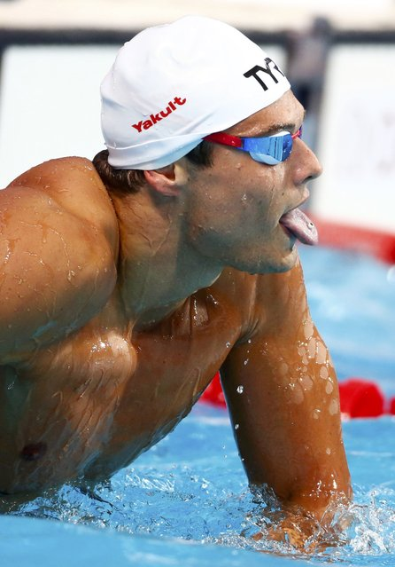 Florent Manaudou of France reacts after placing first in the men's 50m butterfly final at the Aquatics World Championships in Kazan, Russia, August 3, 2015. (Photo by Hannibal Hanschke/Reuters)