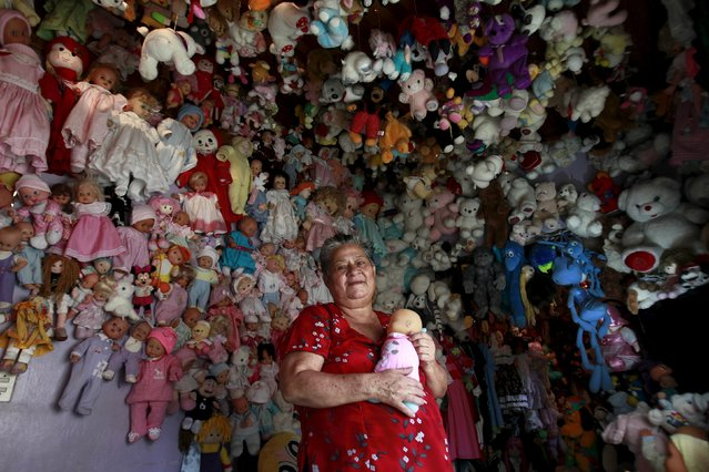 Andrea Rojas, 70, poses with her collection of dolls at her home in Heredia August 5, 2015. Rojas has been collecting dolls for over twenty years and has more than 4,500 dolls. (Photo by Juan Carlos Ulate/Reuters)