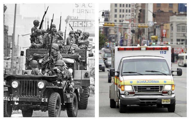 In a July 14, 1967 file photo, left, National Guardsmen make their way along Market Street in Newark, N.J, after an evening of deadly rioting and looting in what came to be known as the Newark riots. In a June 16, 2017 photo, right, an ambulance drives on the same block 50 years later. (Photo by AP Photo/File, left; Julio Cortez, right)
