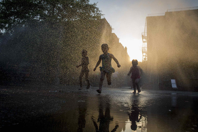 Children play with a sprinkler at a playground in the Park Slope section of the Brooklyn borough of New York July 7, 2014. (Photo by Brendan McDermid/Reuters)
