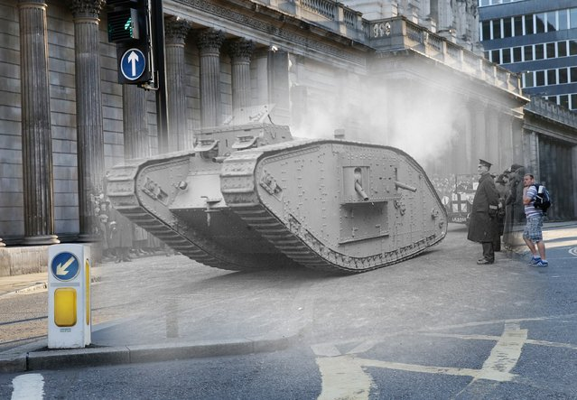 This shot shows a tank passing through the streets of London in November, 1917, and what it would resemble in present day. (Photo by Peter Macdiarmid/Getty Images)