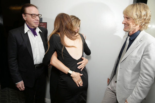 """Director/Screenwriter Peter Bogdanovich, Jennifer Aniston, Kathryn Hahn and Owen Wilson seen at Los Angeles Premiere of Lionsgate Premiere """"She's Funny That Way"""" at Harmony Gold Theatre on Wednesday, August 19, 2015, in Los Angeles, CA. (Photo by Eric Charbonneau/Invision for Lionsgate Premiere/AP Images)"""