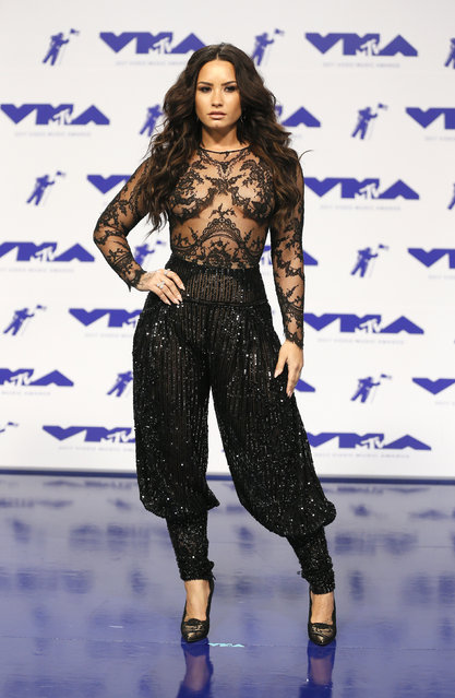 Demi Lovato poses in the press room at the MTV Video Music Awards at The Forum on Sunday, August 27, 2017, in Inglewood, Calif. (Photo by Danny Moloshok/Reuters)