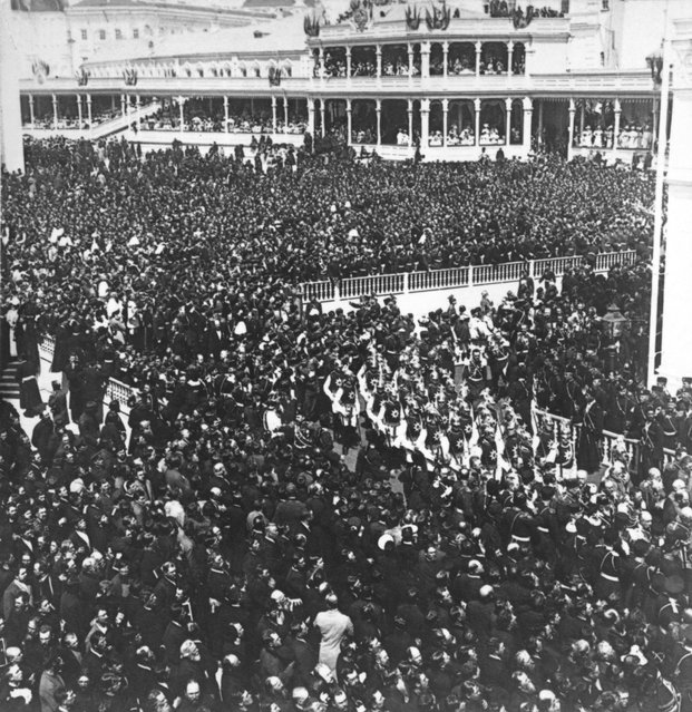 Throngs of people outside the Kremlin in Moscow for the coronation of Tsar Nicholas II, May 1896.