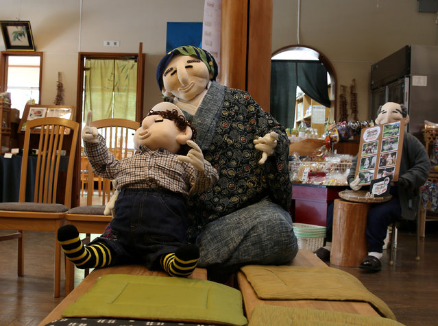An illustration showing scarecrows resting in a shop at Kakashi no Sato, or the Scarecrow's Hometown on September 10, 2014 in Himeji, Japan. (Photo by Buddhika Weerasinghe/Getty Images)