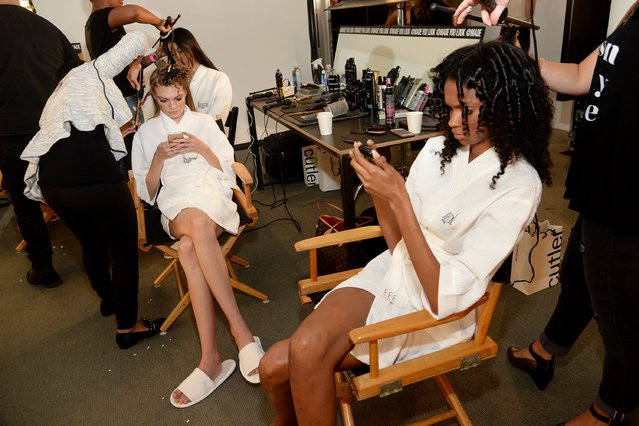 Models prepare backstage at the Houghton Fashion Show during Spring 2016 MADE Fashion Week at Milk Studios on September 14, 2015 in New York City. (Photo by Ben Gabbe/Getty Images)