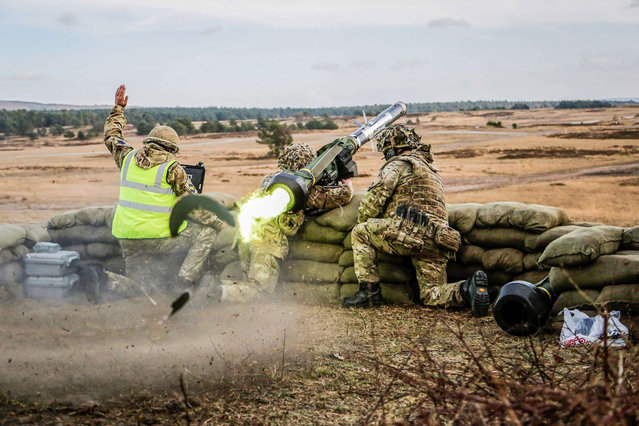 Sennelager ranges firing a live Javelin missile by Cpl Dean Docwra which has won Amateur Portfolio; Army Photographic Competition, Britain, October 8, 2014. (Photo by MoD/Geoff Robinson Photography/REX Features)