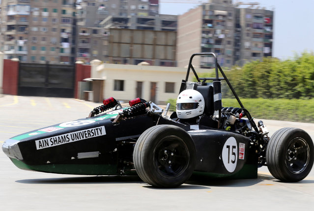 An Egyptian university student drives a racing car his team built to compete at the Formula Student UK in Cairo, Egypt September 2, 2016. (Photo by Mohamed Abd El Ghany/Reuters)