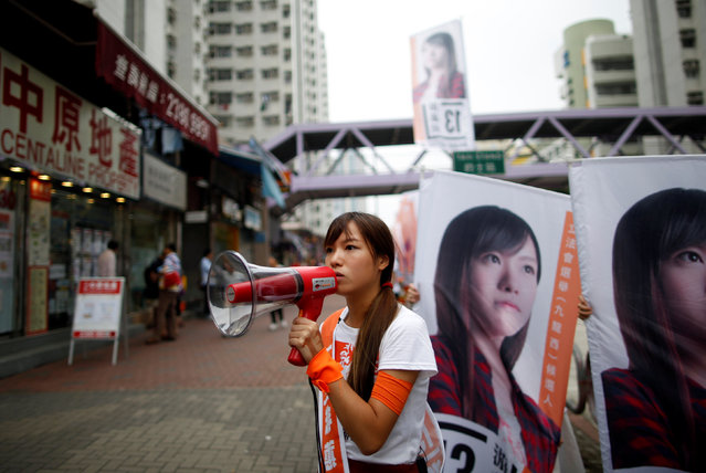 Candidate Yau Wai-ching, member of political group Youngspiration, campaigns on the election day of the Legislative Council in Hong Kong, China September 4, 2016. (Photo by Tyrone Siu/Reuters)