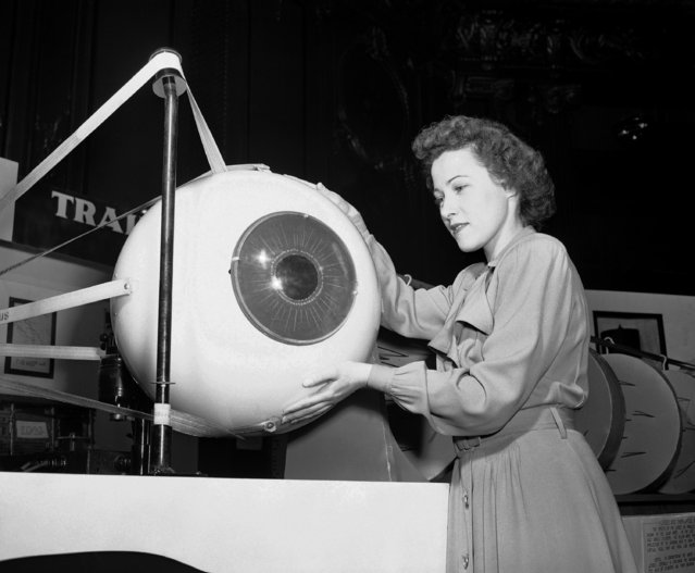 Alice Jusczynski of Chicago looks over a model of the mechanical eyeball, used in medical instruction by the USAF School of Aviation and Medicine at Randolph Field, Texas, October 16, 1948. Made of plastic, it can be operated to demonstrate the muscles which move in the eye. It was one of the exhibits at the 53rd annual meeting of the American Society of Ophthalmology and Otolaryngology in Chicago. (Photo by Edward Kitch/AP Photo)