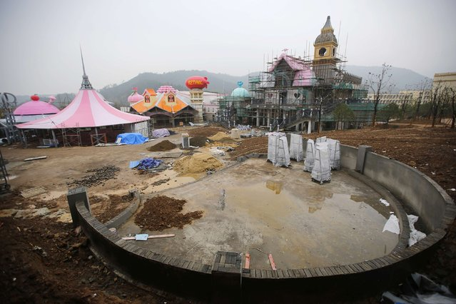 A section of a Hello Kitty amusement park is seen undergoing construction in Anji, Zhejiang province November 28, 2014. (Photo by Carlos Barria/Reuters)
